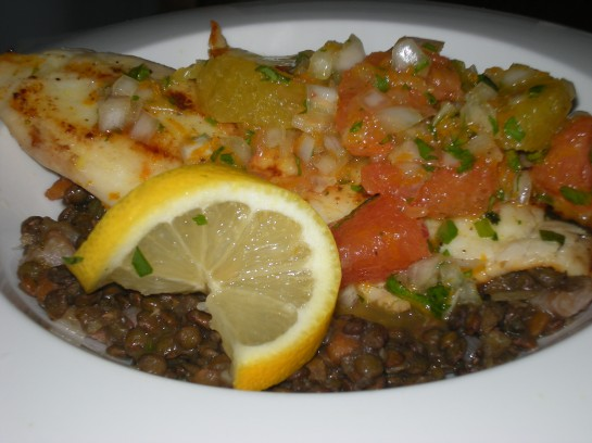 Tilapia with Citrus Salsa and Braised Lentils