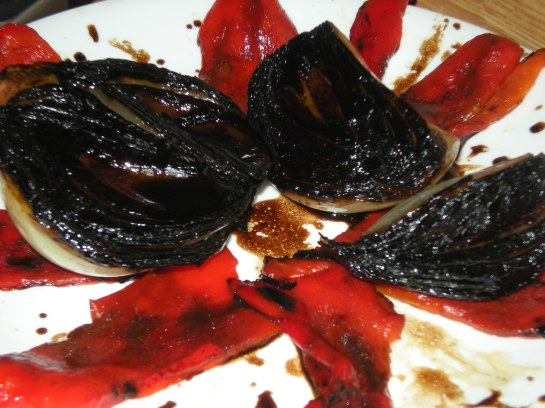 Balsalmic-Glazed Spanish Onions with Roasted Red Peppers