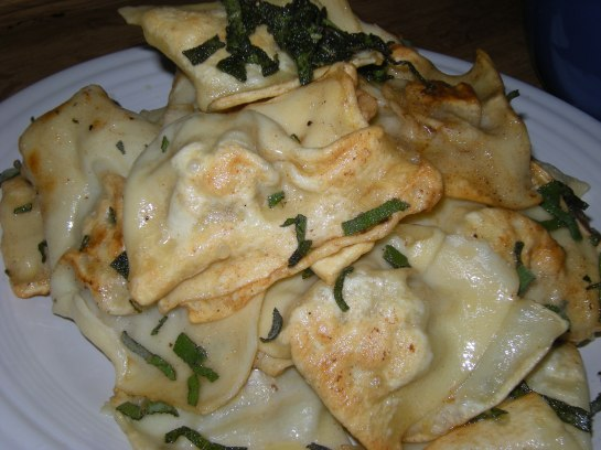 Fresh Pan-Seared Turkey and Ricotta Cheese Raviolis with Brown Butter Sage Sauce