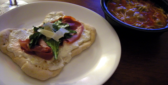 Piadina with Prosucitto di Parma and Catalan Meatball Soup