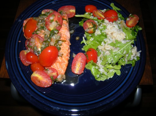 Sockeye Salmon with Grape Tomatoes and Capers and a Brown Rice and Arugula Salad