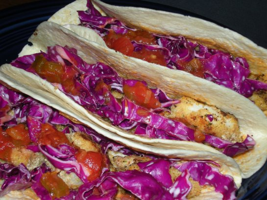Pacific Cod Tacos with Chipolte Mayonnaise and Red Cabbage Slaw