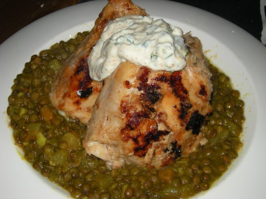Tandoori Chicken Thighs with Braised French Lentils and Yogurt Sauce