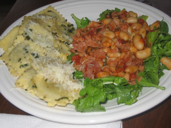 White Beans with Proscuitto di Parma and Fresh Cheese Ravioli with Sage Brown Butter Sauce
