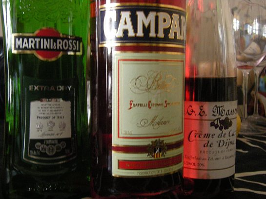 A selection of Northern Italian aperitivi...and some French crème de cassis.