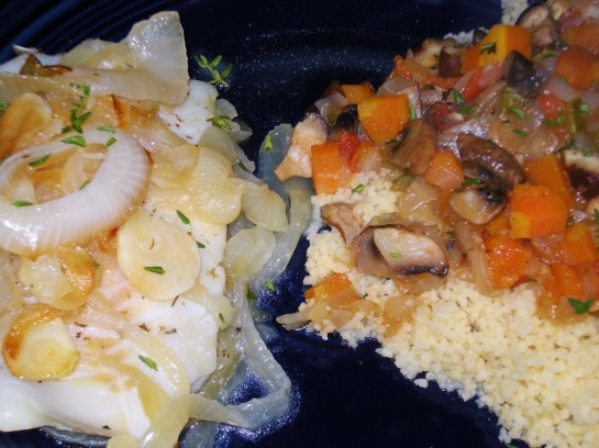 "Baked Cod with Mushroom ""Bolognese"" over Couscous"