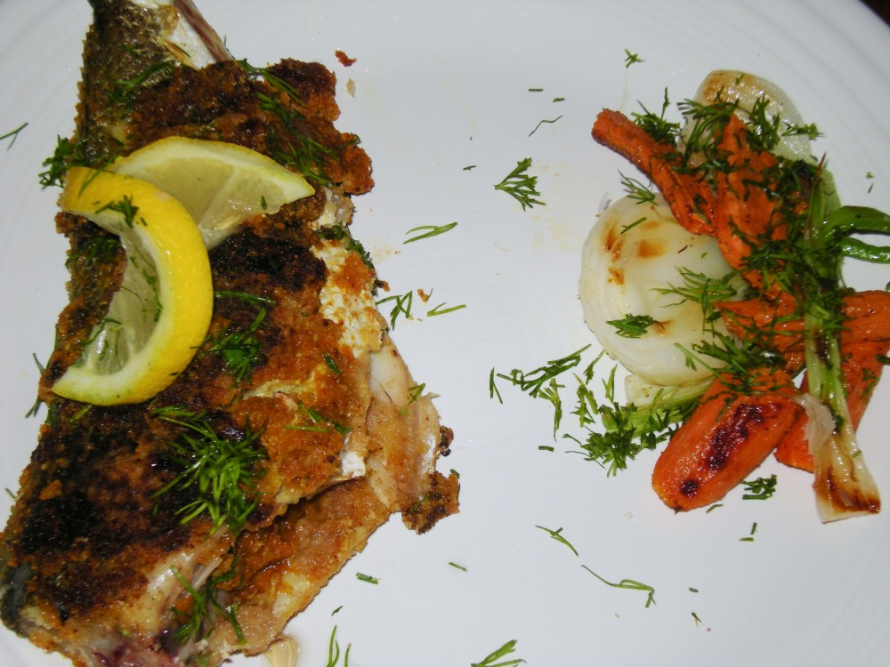 Atlantic Croaker with Roasted Carrots and Grilled Salad Vidalia Onions