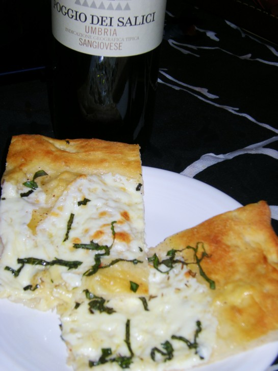 Pizza Bianca with Fresh Mozzarella and Basil