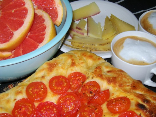 Roasted Tomato Focaccia, Red Grapefruit, Cheese Platter and Cappucinos