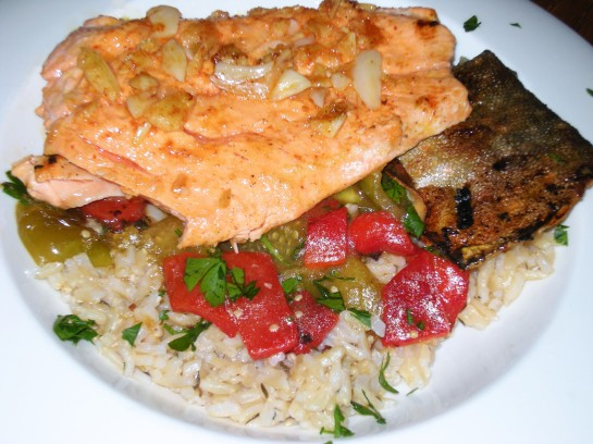 Artic Char with Roasted Tomatillo and Red Pepper Salsa and Brown Rice