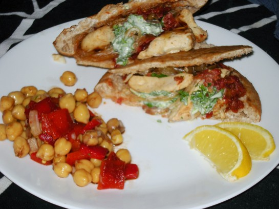 Grilled Chicken Pita with Grilled Onions, Tomato Jam and Cilantro Creme Fresh
