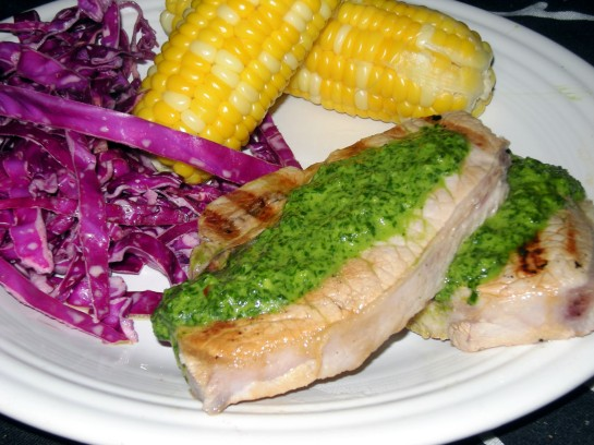 Pork Chops with Chimichurri, Corn and Red Cabbage Slaw