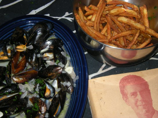 Moules Marineres, Frites and the patron saint of our meal, Anthony Bourdain