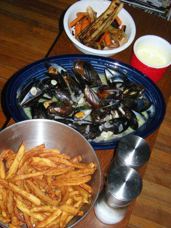 Frites, moules marineres, house-made mayo, grilled leeks and roasted carronts