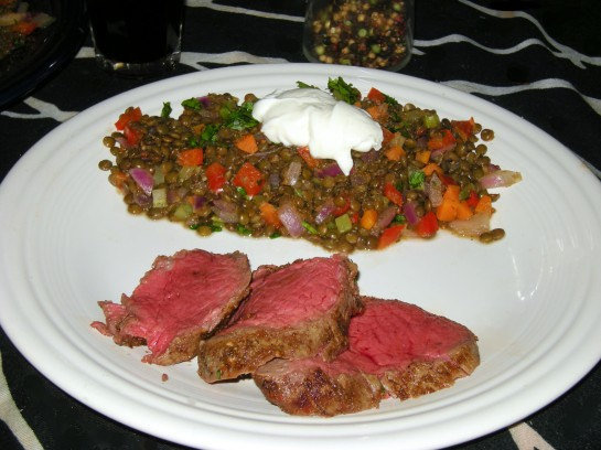 Chateaubriand with Stewed Lentils
