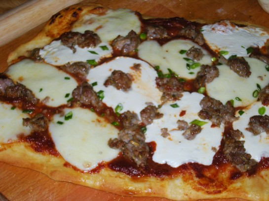 Sausage, Mozzarella and Tomato Pizza