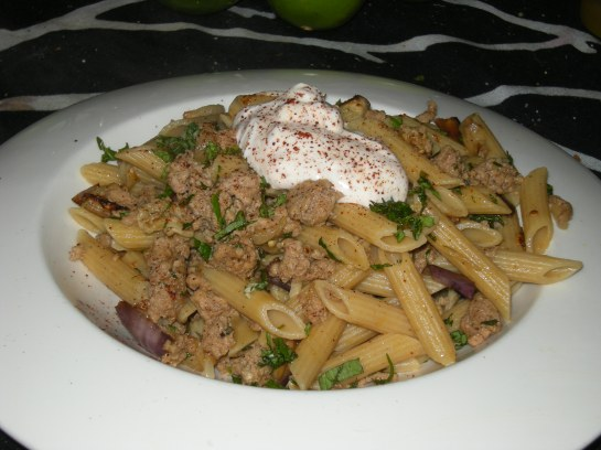 Turkish-Style Turkey with Eggplant, Penne and Peppered Greek Yogurt