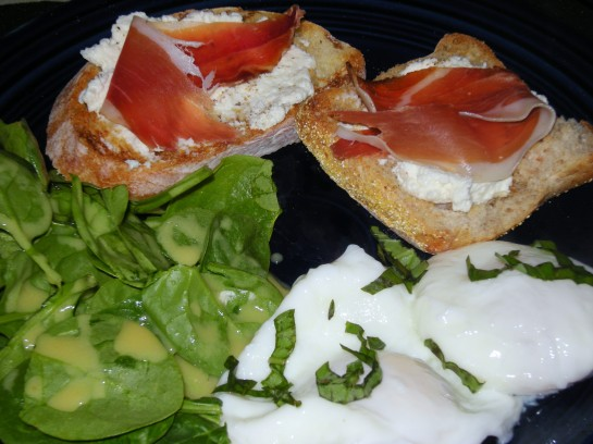 Poached Eggs, Spinach Salad with Mustard Vinaigrette, and Ciabatta Garlic Toasts with Homemade Ricotta and Speck