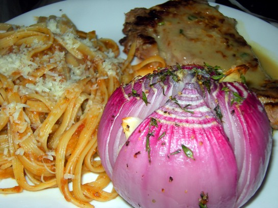 Baked Piemonte-style Red Onions, Veal Cutlets with a White Wine, Sage and Butter Pan Sauce, and Fettucini with Lamb Ragu