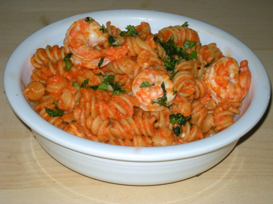 Shrimp with Rotini over Romesco Sauce
