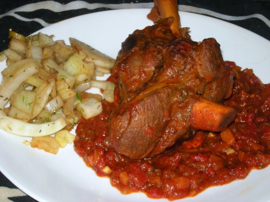Braised Lamb Shank with Sauteed Fennel
