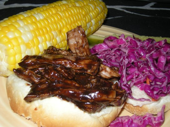 Pork Barbecue Sandwiches with Red Cabbage Slaw and Corn on the Cob