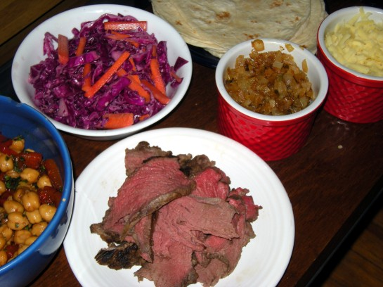 Chain Steak Tacos with Red Cabbage Slaw, Chick Pea Salad, Sweet Onion Relish and Aged Irish Cheddar Cheese