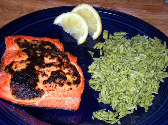 Sockeye Salmon with a White Wine Mustard Sauce with Piemontese-style Agliata