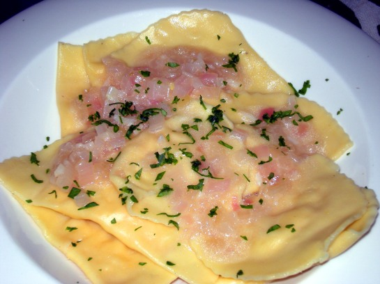 Shrimp Mezzaluna Raviolis with a Vermouth, Butter and Shallot Sauce