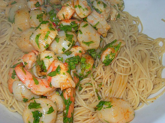 Spicy Scallops and Shrimp over Capellini
