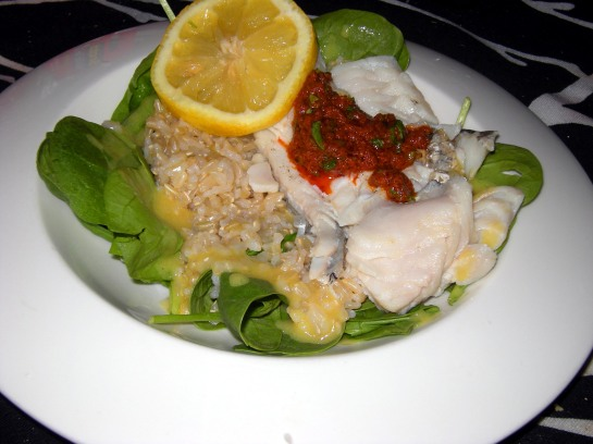 Haddock with Chermoula over rice and spinach vingrette
