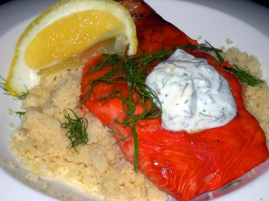 Sockeye Salmon with Dill Yogurt Sauce